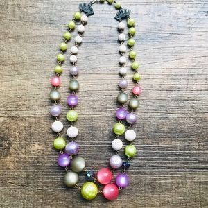 "Vintage 1950's Beaded Necklace Spring Hues 9"" Drop"